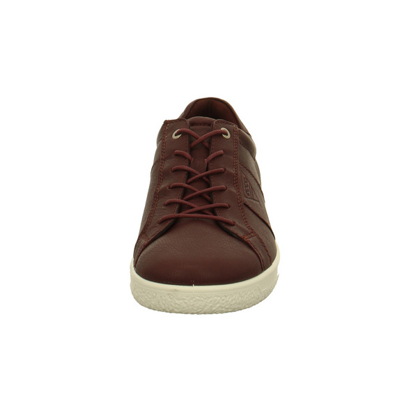 Ecco Herren Soft 1 M Bordeauxfarbene Glattleder Sneaker