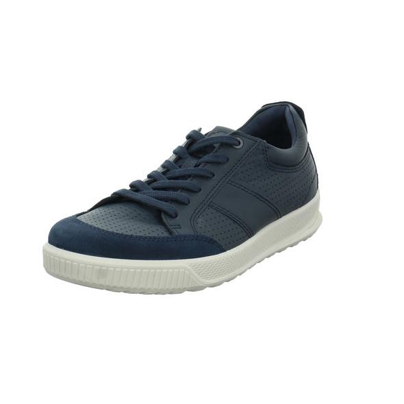 Ecco Herren Byway Blaue Glattleder Sneaker