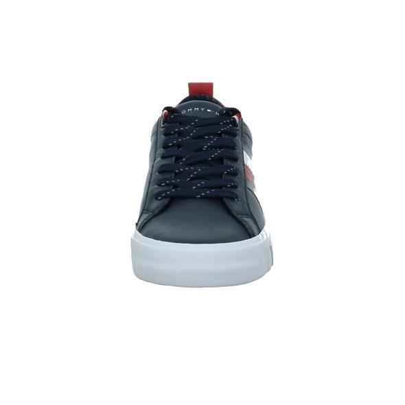 Tommy Hilfiger Herren Flag Detail Leather Blauer Glattleder Sneaker