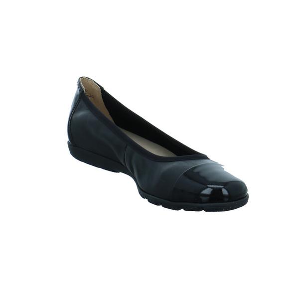 Caprice Damen 22152-033 Schwarze Glattleder Ballerina