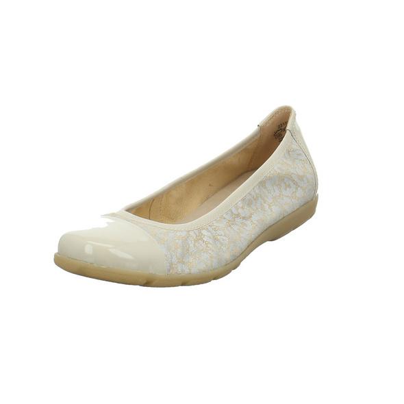 Caprice Damen 22152-430 Beigefarbener Veloursleder/Lack Ballerina