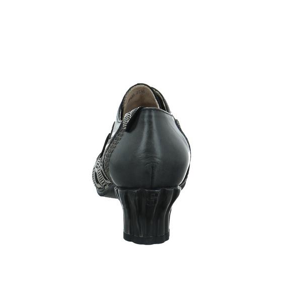 Simen Damen 09336 Schwarz Kombinierter Glattleder Schnürschuh