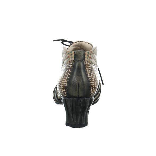 Simen Damen 3194A-BRAUN KOMBI Brauner Reptil Optik Schnürschuh