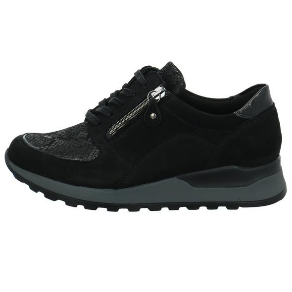 Waldläufer Damen Hiroko Soft Orthotritt Schwarzer Materialkombinierter Sneaker