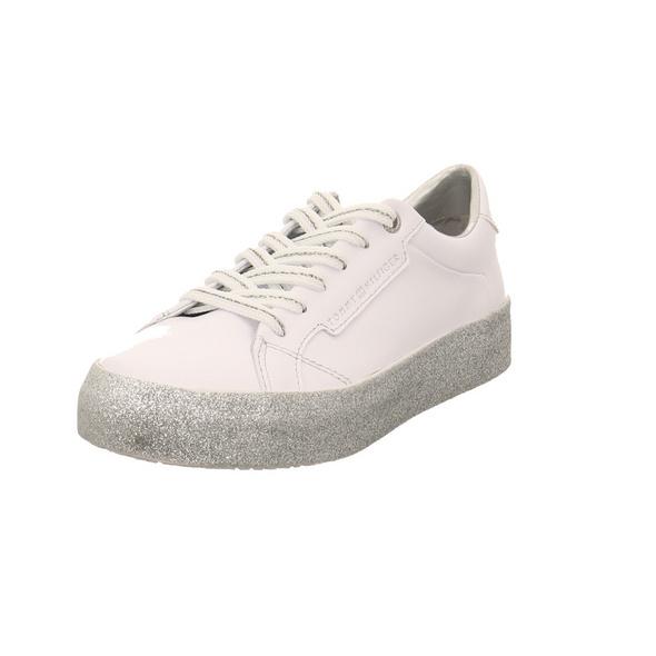 Tommy Hilfiger Damen Glitter Foxing Dress Weißer Glattleder Sneaker