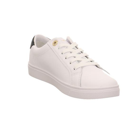 Tommy Hilfiger Damen TH Signatur Cupsole Weißer Leder/Synthetik Sneaker