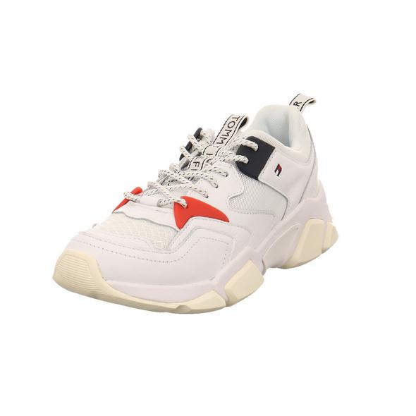 Tommy Hilfiger Damen WMN Chunky Mixed Textile Trainer Weißer Materialkombinierter Sneaker