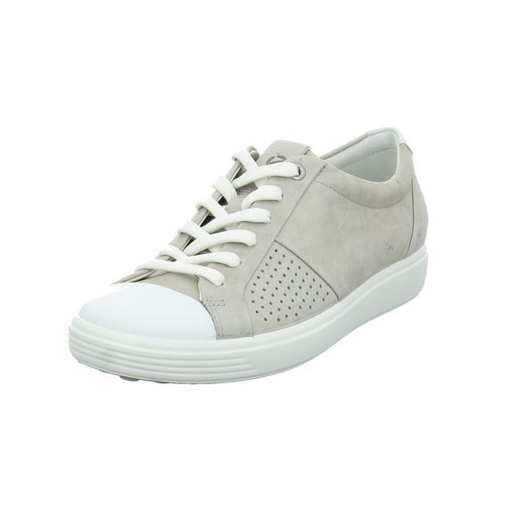 Ecco Damen Soft 7 Grauer Leder Sneaker