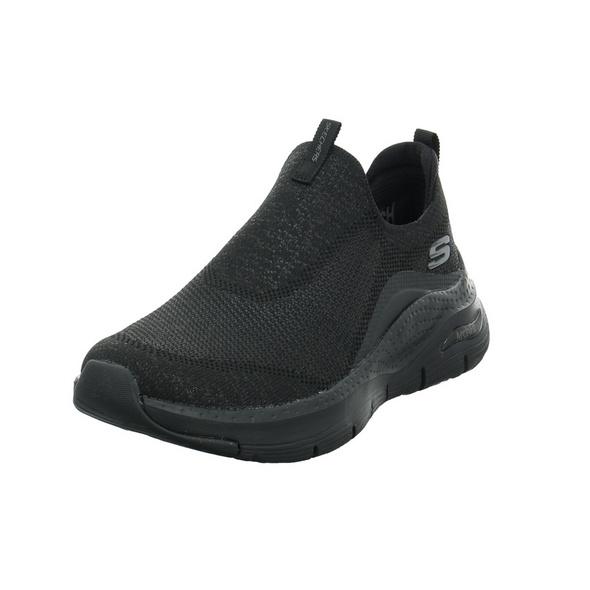 Skechers Damen Arch Fit Keep It Up schwarzer Textil Slipper
