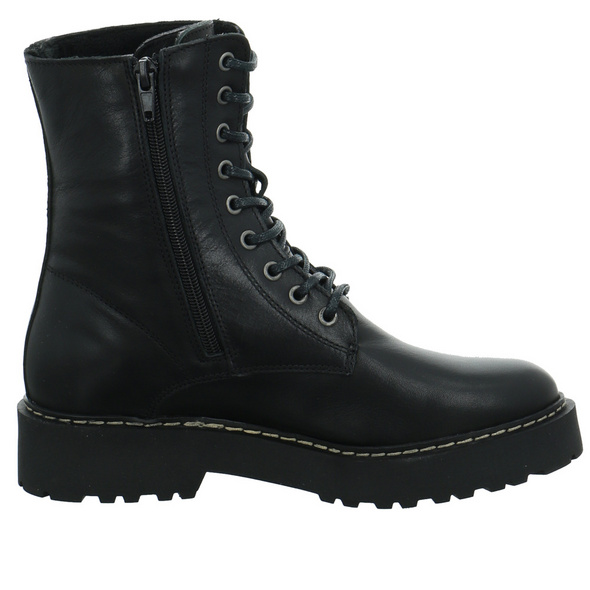 Online Shoes Damen F-8377-02 Schwarzer Glattleder Boot