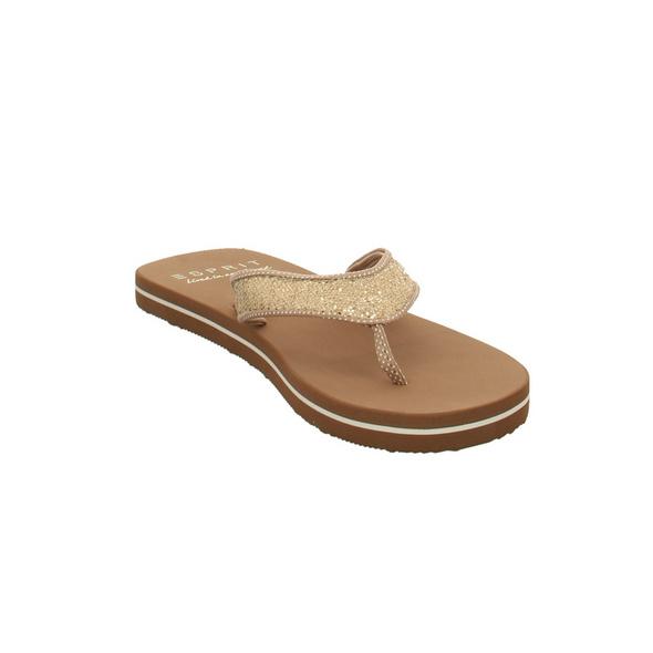 Esprit Damen Glitter Thongs 039EK1W015295 Beigefarbene Textil Zehentrenner