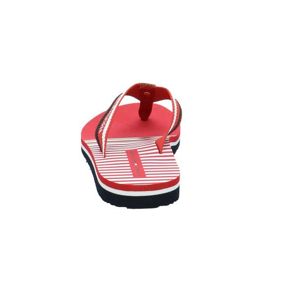 Tommy Hilfiger Damen Stripy Flat Beach Sandal Rote Leder/Textil Pantolette