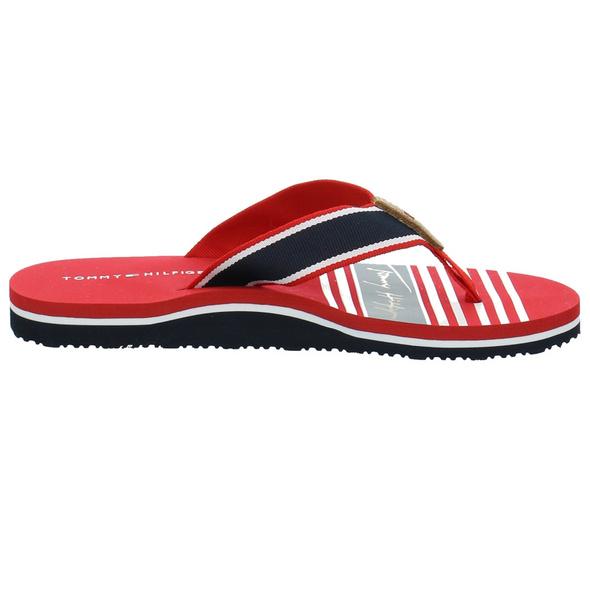 Tommy Hilfiger Damen FW0FW05662XLG Rote Leder/Textil Pantolette