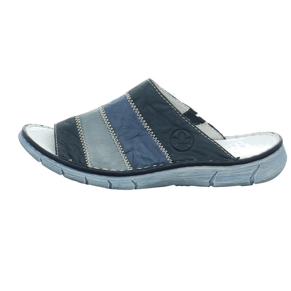 Rieker Damen V0866-14 Blaue Glattleder Pantolette