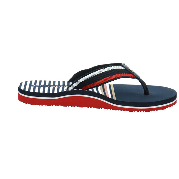 Tommy Hilfiger Damen Stripy Flat Beach Blaue Leder/Textil Pantolette