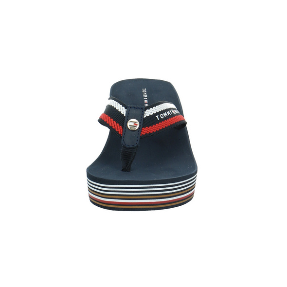 Tommy Hilfiger Damen Stripy Wedge Beach Blaue Textil Pantolette