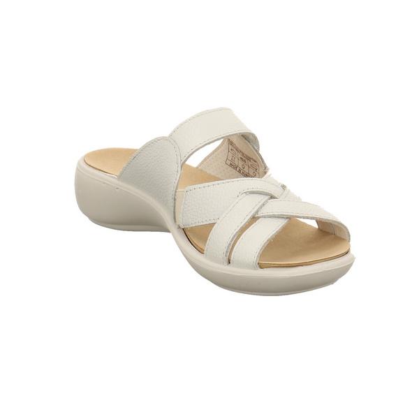 Romika Damen Ibiza Weiße Glattleder Pantolette
