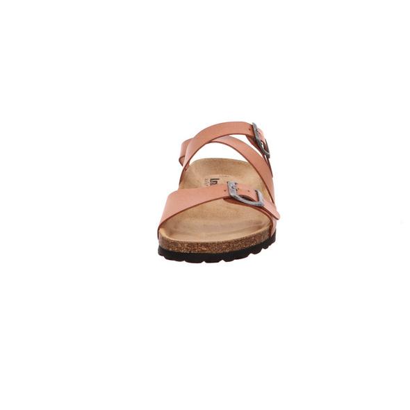Longo Damen 1006481 Braune Glattleder Fußbettpantolette