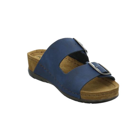 Rohde Damen 5856-56 Blaue Veloursleder Pantolette