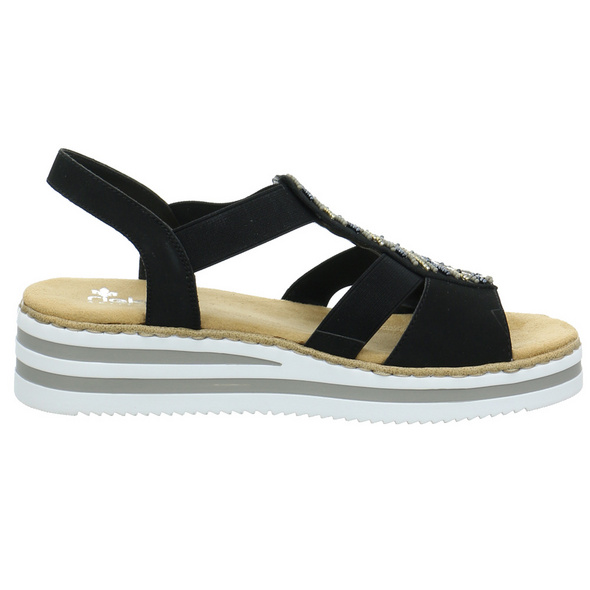 Rieker Damen V02C1-00NEU Schwarzer Synthetik/Textil Sandalette