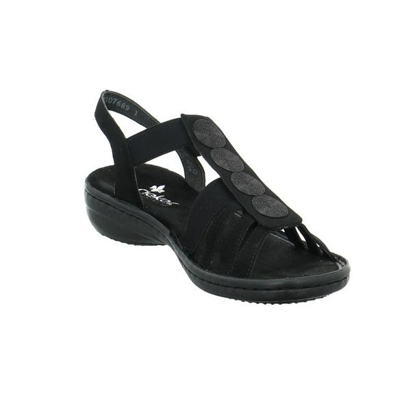 Rieker Damen 60870-00 Schwarze Synthetik/Textil Sandale