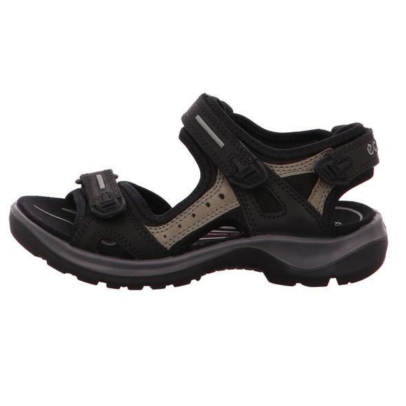 Ecco Damen Offroad 069563/50034 Schwarze Leder/Textil Sandale