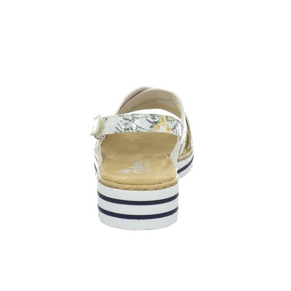Rieker Damen V06B4-90 Weiße Synthetik Sandalette