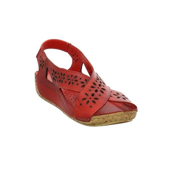 Gemini Damen Anilina Rote Glattleder Sandale