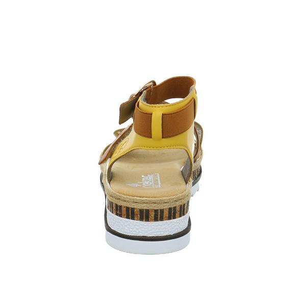 Rieker Damen V7958-68 gelbe Synthetik Sandalette