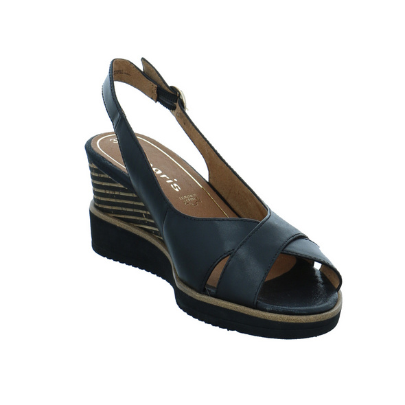 Tamaris Damen 28311-003 Schwarze Glattleder Sandalette
