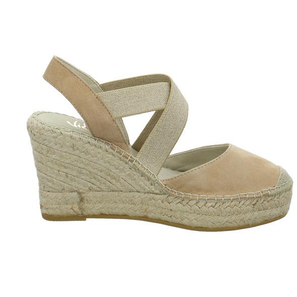 Vidorreta Damen 13400ANTIPIEDRA Beigefarbene Leder/Textil Sandalette