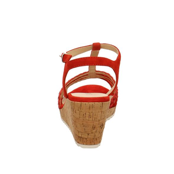 Caprice Damen 28704-523 Rote Leder Keilsandalette