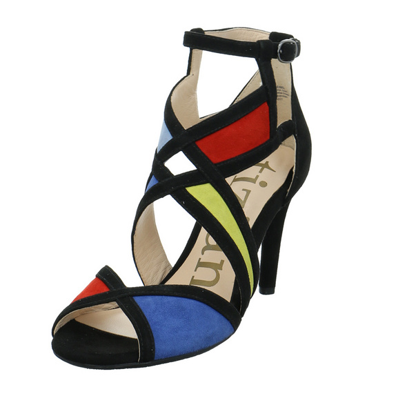Tizian Damen Austin 01 Multicolorfarbene Veloursleder Sandalette