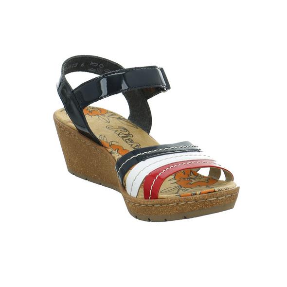 Rieker Damen V1955-33 bunte Lackmaterial Sandalette