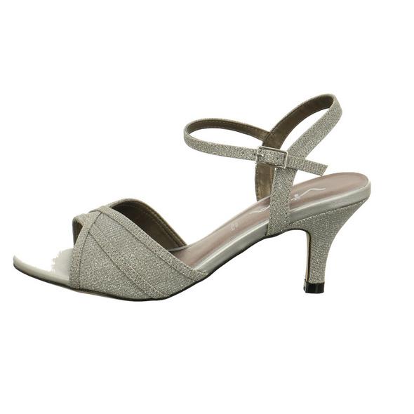 Vista Damen 90-6509 Silberfarbene Textil Sandalette