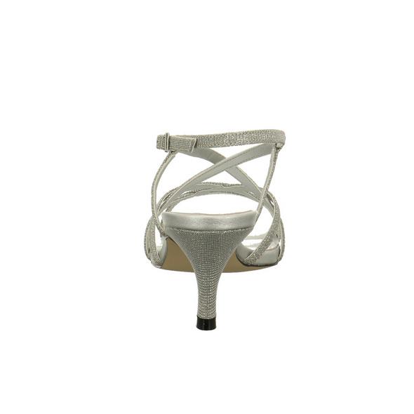 Vista Damen 90-6508 Silberfarbene Textil Sandalette