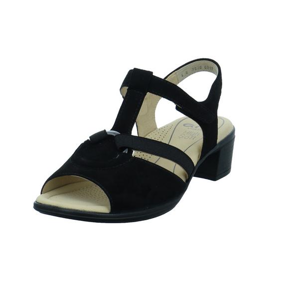 Ara Damen Lugano Highsoft Schwarze Leder/Textil Sandalette