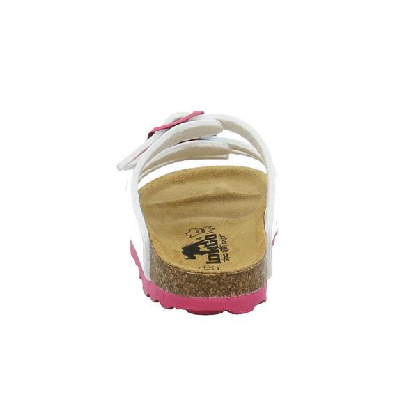 Longo Kinder 1072106 Weiße Synthetik Pantolette mit Einhorn-Druck