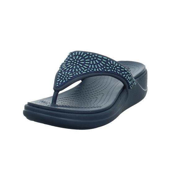 Crocs Kinder Women´s Crocs Monterey Diamante Wedge Flip Blaue Synthetik Pantolette