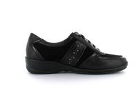 Tizian Damen Pavia 12 Schwarzer Glattleder Sneaker