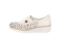 Rieker Damen 537N8-80 Weiße Glattleder Slipper