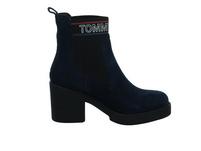 Tommy Hilfiger Damen Coporate Elastik Suede Blauer Leder/Textil Boot