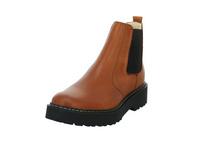 Online Shoes Damenn F-8396COGNAC Brauner Glattleder Chelsea Boot