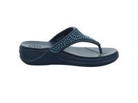 Crocs Damen Women´s Crocs Monterey Diamante Wedge Flip Blaue Synthetik Pantolette