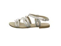 Tizian Damen Mystique 01 Silberfarbene Leder Sandalette