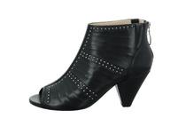 Tizian Damen Bibione 01 Schwarze Glattleder Sandalette mit Nieten