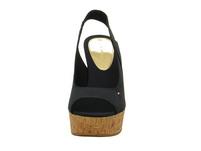 Tommy Hilfiger Damen - Sling Back Wedge - Blaue Textil Sandale