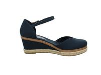 Tommy Hilfiger Damen Basic Closed Toe Mid Wedge Blaue Leder/Textil Sandalette