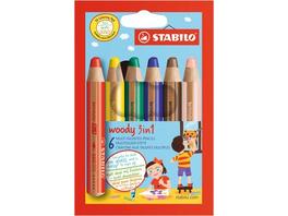 Buntstift, Wasserfarbe & Wachsmalkreide - STABILO woody 3 in 1 - 6er Pack - mit 6 verschiedenen Farben