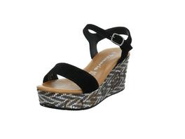 Tamaris Damen 28013-025 Schwarze Veloursleder Sandalette mit Keilabsatz